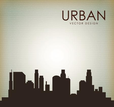 enviromental: dise�o urbano de la ciudad sobre fondo vintage ilustraci�n vectorial Vectores