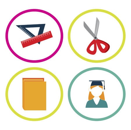 implement: educations supplies over white background vector illustration