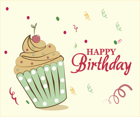 happy birthday cupcake over a yellowish background vector illustration Stock Vector - 26412101