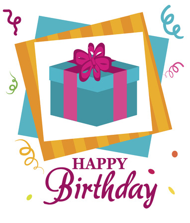 cadeau anniversaire: cadeau d'anniversaire heureux sur un fond blanc illustration vectorielle Illustration