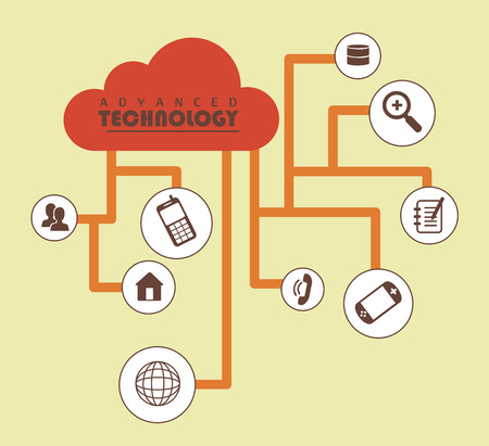 advanced technology: Advanced Technology flat over yellowish background vector illustration