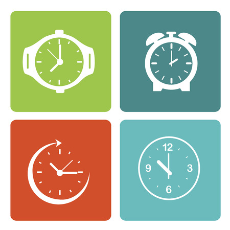 time clocks over white background vector illustration Vector