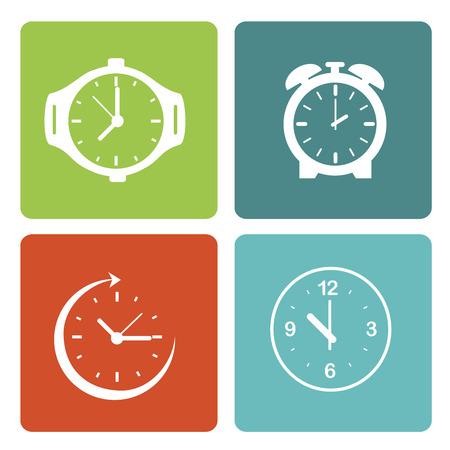 time over: time clocks over white background vector illustration Illustration