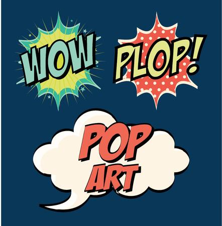word art: pop art design  over blue background vector illustration