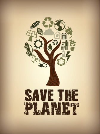 ecology design over vintage background vector illustration
