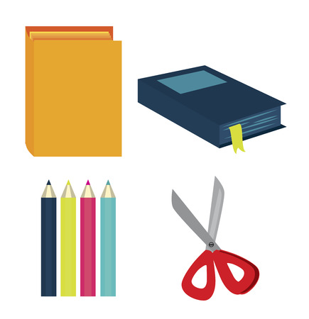 implement: school tools over white background vector illustration