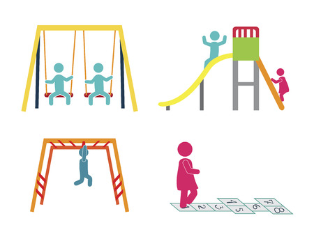 kids playing on a park over white background vector illustration Vector