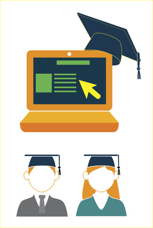 e learning education over white background vector illustration Vector