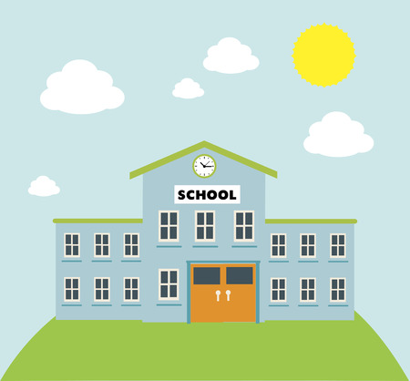 gráfico de construcción de la escuela sobre fondo azul ilustración vectorial Ilustración de vector