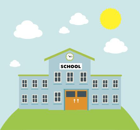 edificio: gráfico de construcción de la escuela sobre fondo azul ilustración vectorial