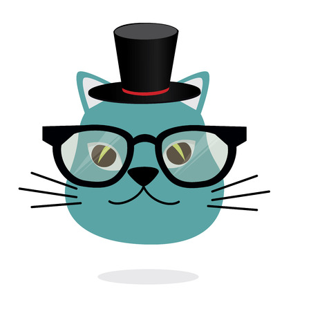 Magic cat cartoon over a white background vector illustration Vector