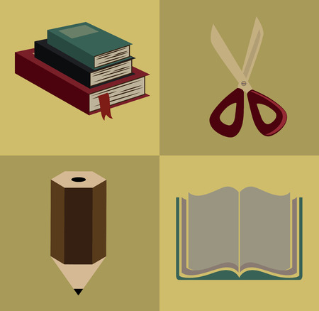 useful: school supplies in squares over yellowish background vector illustration