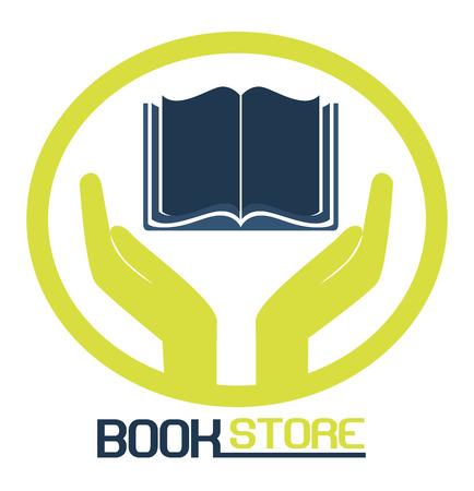 buchhandlung: Buchhandlung Symbol �ber einem wei�en Hintergrund Vektor-Illustration