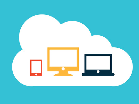cloud computing over blue  background vector illustration  Vector