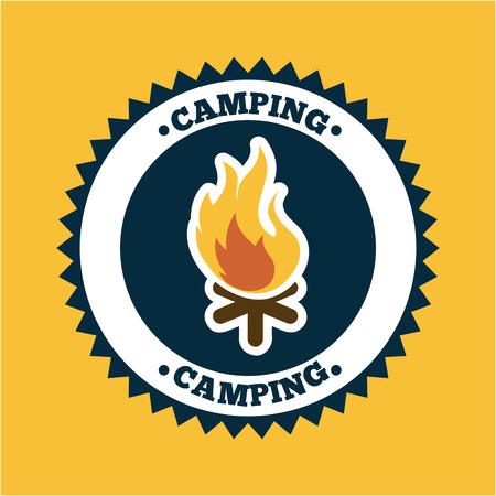 camping design over orange background vector illustration Vector