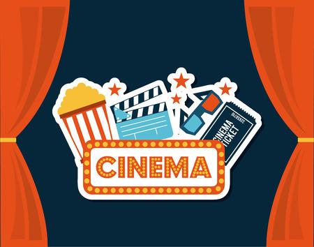 courtain: cinema design over blue background vector illustration