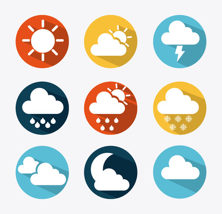 Weather icons of summer, rain, and cloudy days, vector illustration Vector
