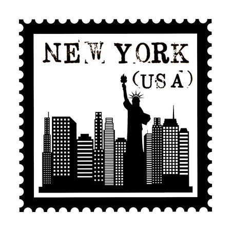 New york Buildings with statue of liberty on background Vector