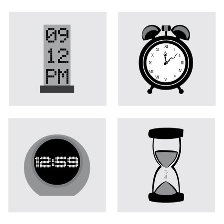 silhouttes: time design over vector illustration Illustration