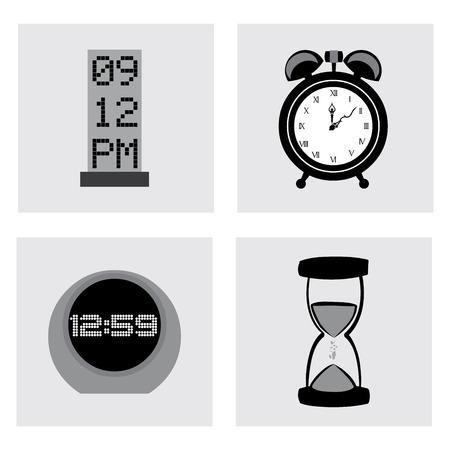silhouttes: time design over vector illustration Illustration