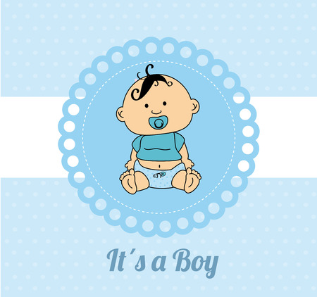 Baby shower card design over a blue and white background vector illustration Vector