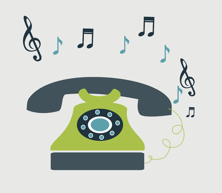 retro telephone  over gray background vector illustration Vector