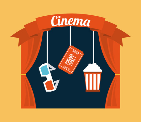 courtain: cinema design over cream background vector illustration