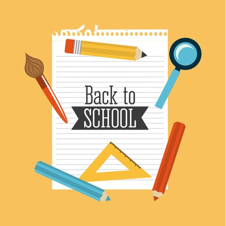 secondary colors: Back to School supplies, vector illustration