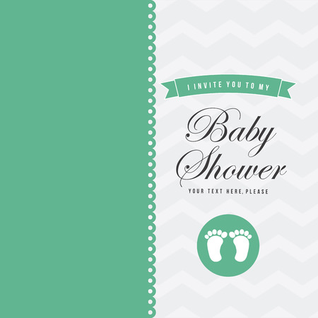 Baby shower card with baby foot prints, vector illustration Vector