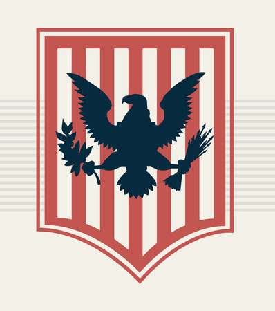 blue eagle on red shield, vector illustration Vector