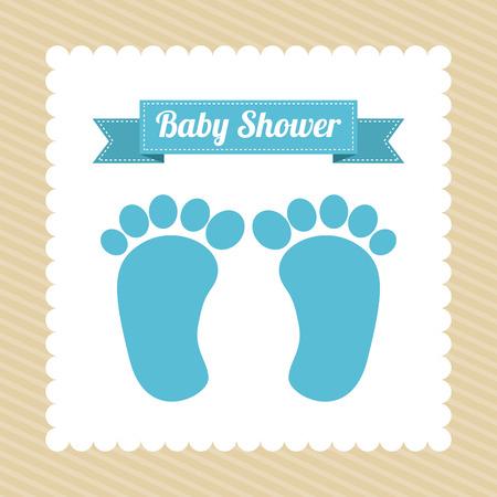 Tarjeta de la ducha de bebé con las impresiones del pie del bebé, ilustración vectorial Foto de archivo - 26423516