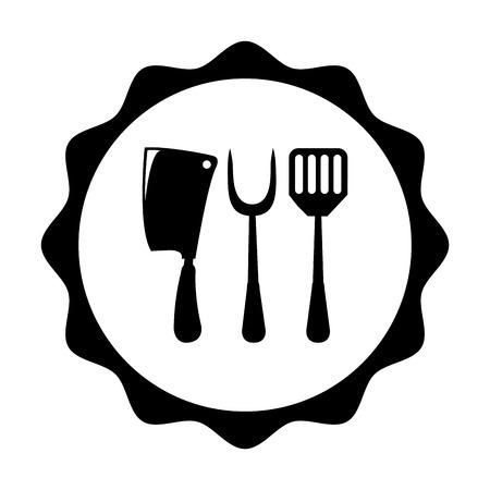 cookware: Sello de utensilios de cocina sobre el fondo blanco, ilustraci�n vectorial