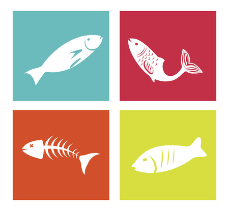 silhouttes: sea food design over white background vector illustration