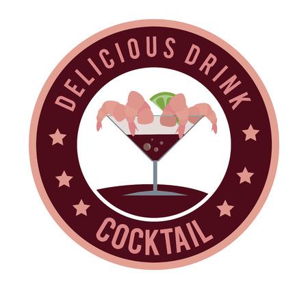 shrimp cocktail: sea food cocktail bottom design over white background vector illustration Illustration