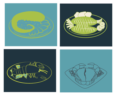 sea food design over colorful background vector illustration Vector