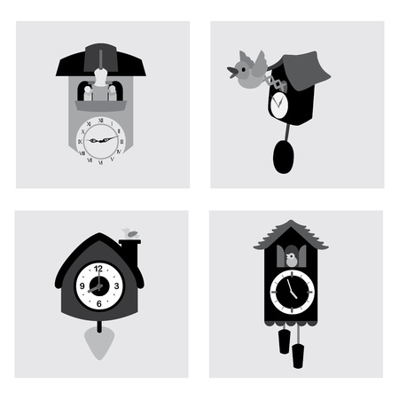silhouttes: time design over gray  background vector illustration