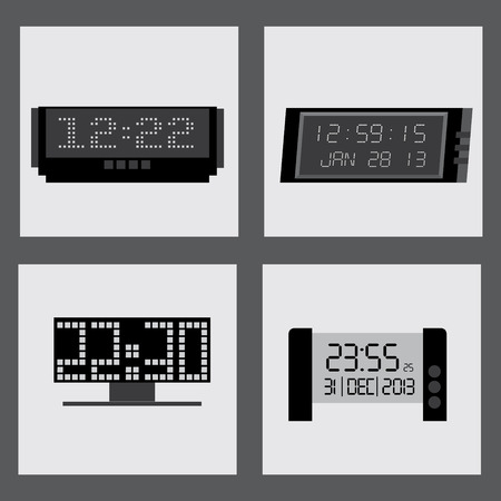 silhouttes: time  clocks squares design over vector illustration