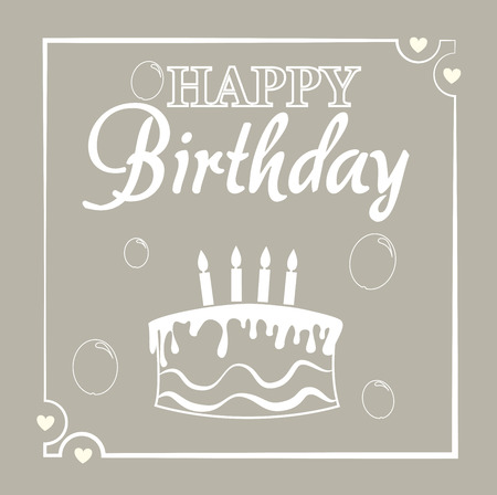 card design: happy birthday card  design over  beige background vector illustration  Illustration