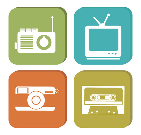retro lifestyle set over white background vector illustration Vector