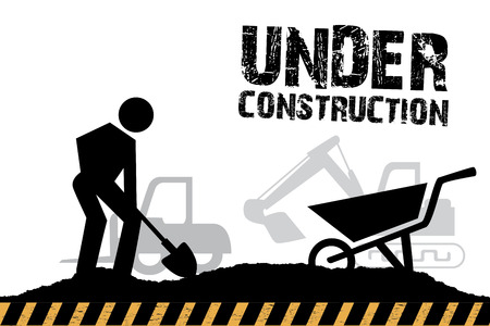 under construction over white background vector illustration
