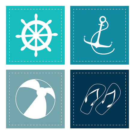 flying boat: sea square design over white background vector illustration Illustration