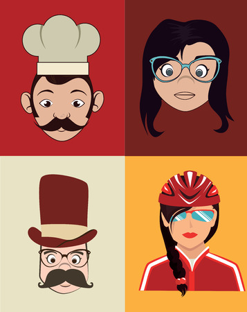 city people design over colorful background Vector