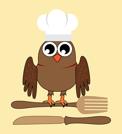 owl chef over yellow background  vector illustration Vector