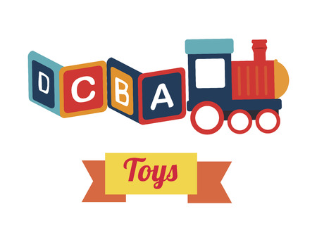 baby toys over colorful background vector illustration Vector