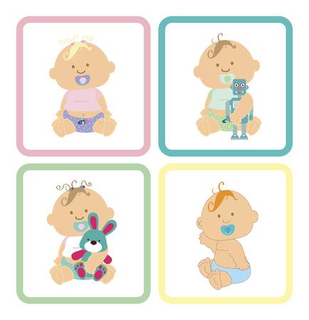 diseño cuadrado bebé sobre fondo blanco ilustración vectorial Ilustración de vector