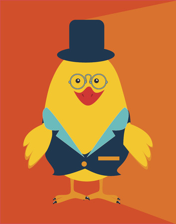gentleman cartoon design over orange background vector illustration  Vector