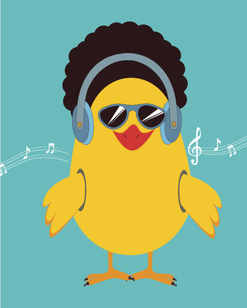 The music chicken cartoon over blue background vector illustration Vector