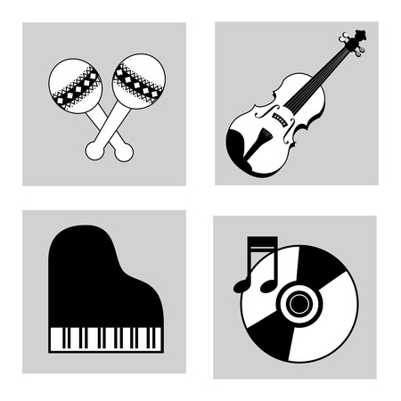 The music icons over white background vector illustration Vector