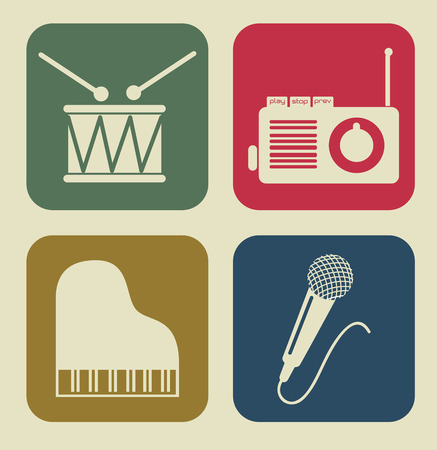 The music icon squares over white  background vector illustration Vector