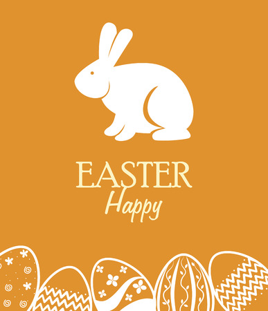 happy easter squares over yellow background vector illustration Vector